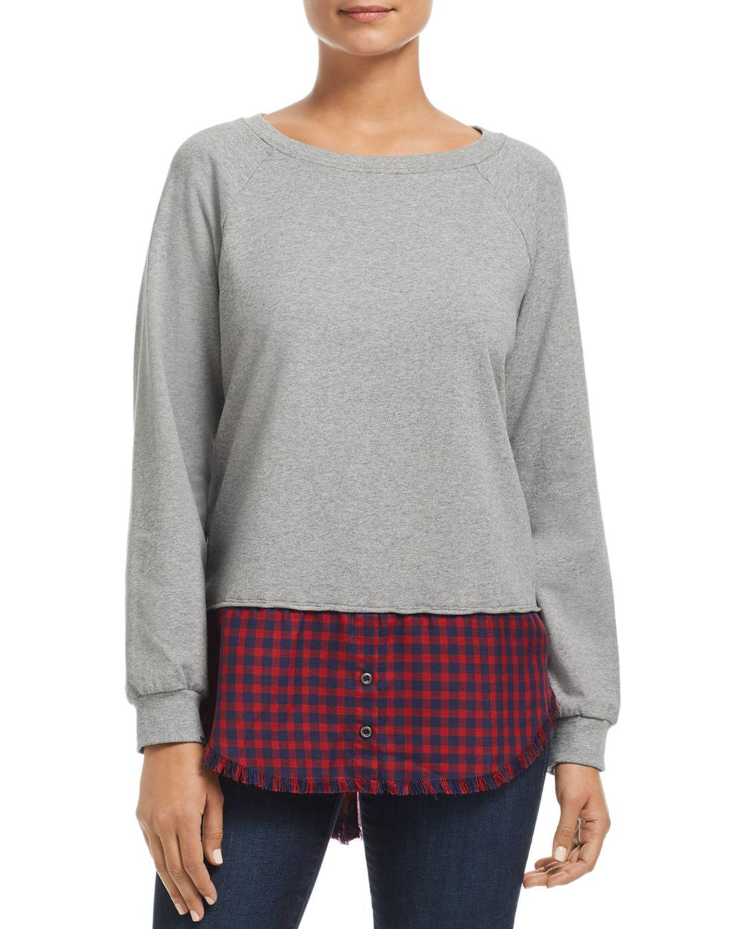 73705d8961e1c Billy T Plaid Shirttail Sweatshirt in Gray - Lyst