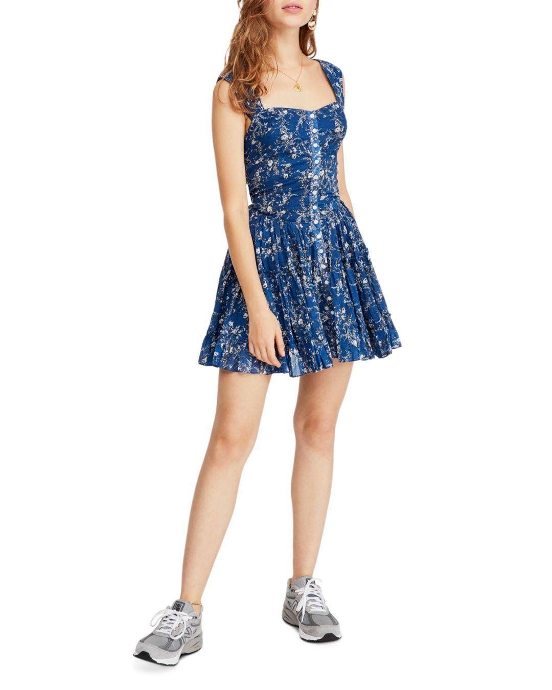 cb891a0796 Lyst - Free People Dance On The Blacktop Floral Mini Dress in Blue
