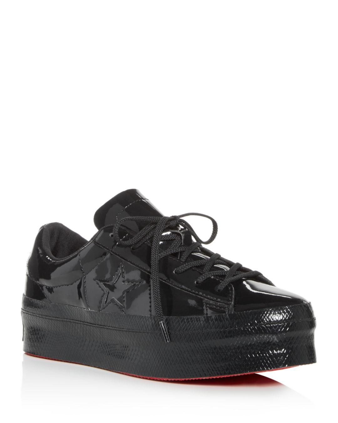 dd0e8249332d73 Converse Women s One Star Lace-up Platform Sneakers in Black - Lyst