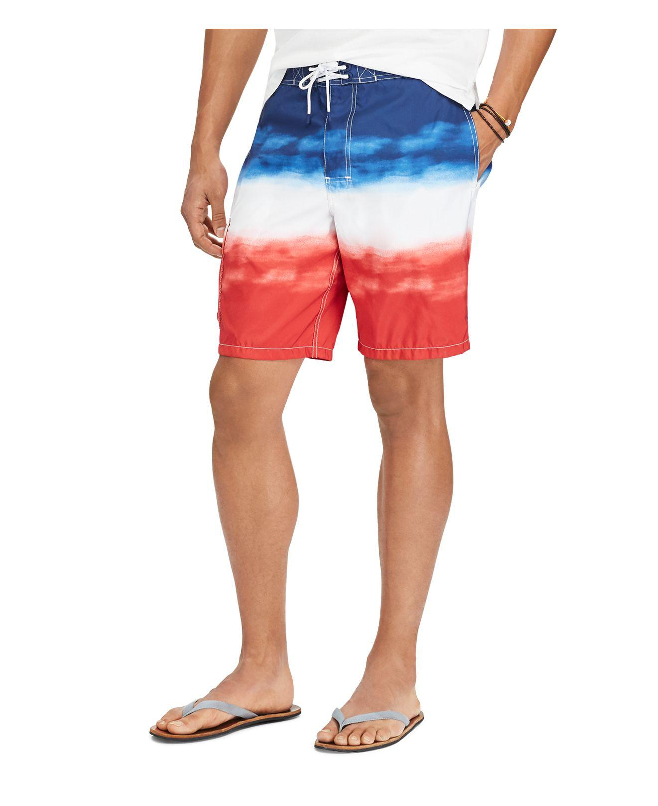 fc375a57bb6e9 Polo Ralph Lauren Kailua Dip-dye Board Shorts in Red for Men - Lyst
