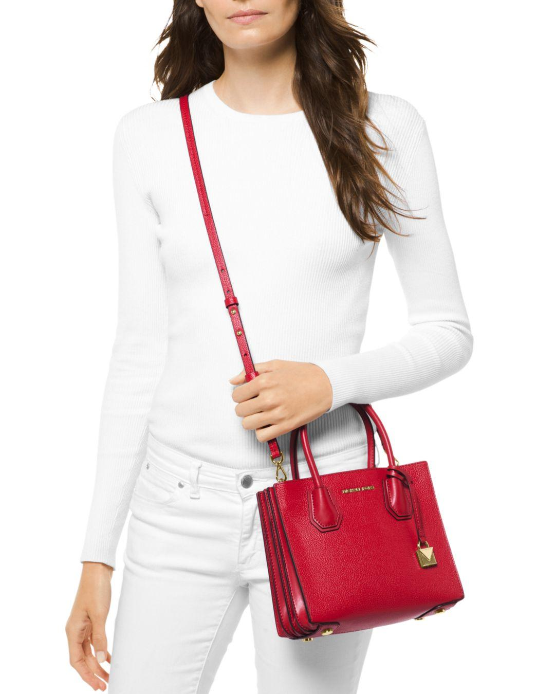62771a4389a1 Lyst - Michael Kors Michael Mercer Pebble Leather Accordion Crossbody in Red