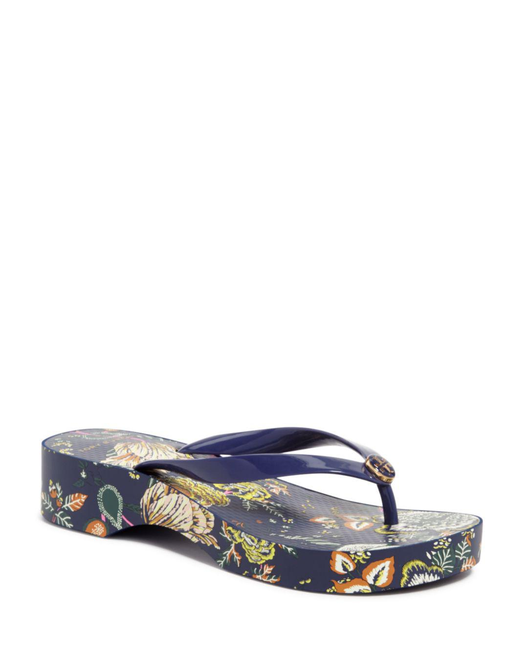 91d745f88 Lyst - Tory Burch Women s Printed Platform Flip-flops in Blue