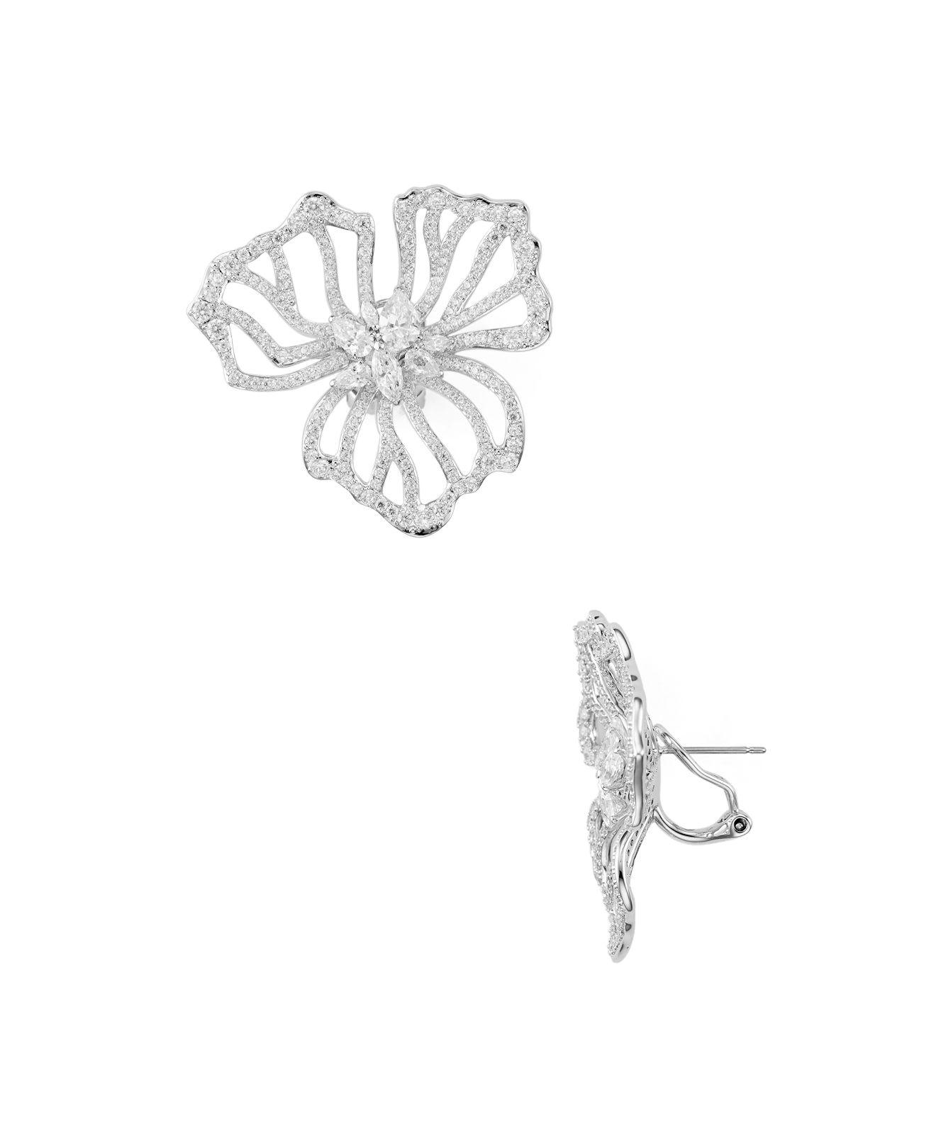clip silver flower edges earrings large image
