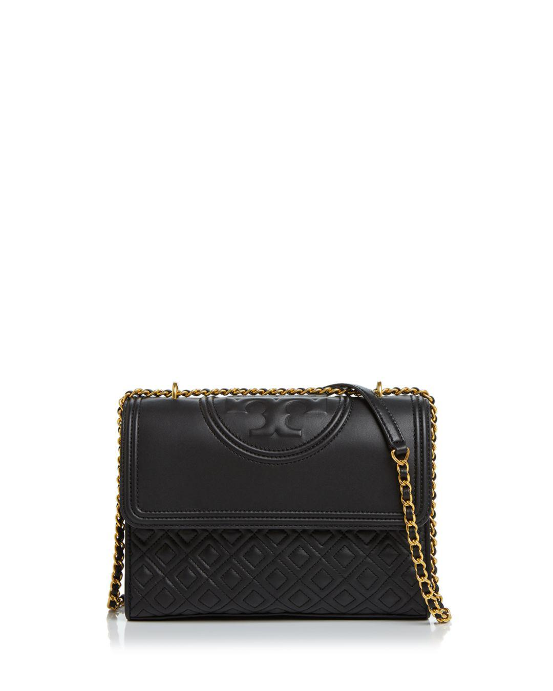 73f5b4cbc24a Lyst - Tory Burch Fleming Convertible Leather Shoulder Bag in Black
