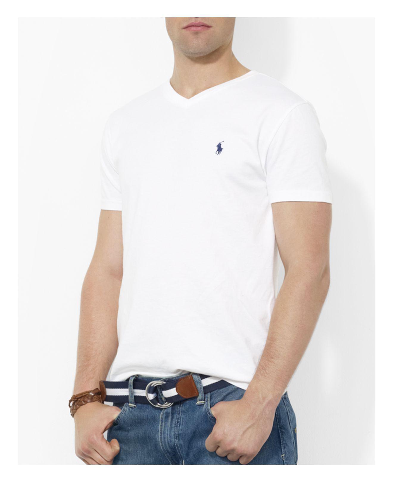 6a2b3e1539ba5 Lyst - Polo Ralph Lauren Cotton V Neck Tee in White for Men
