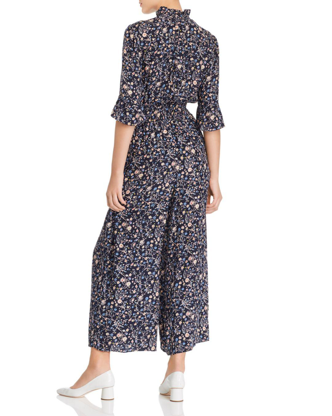 8bcbf15ebd Lyst - Rebecca Taylor Vivianna Vine Jacquard Silk Jumpsuit in Blue - Save  40%