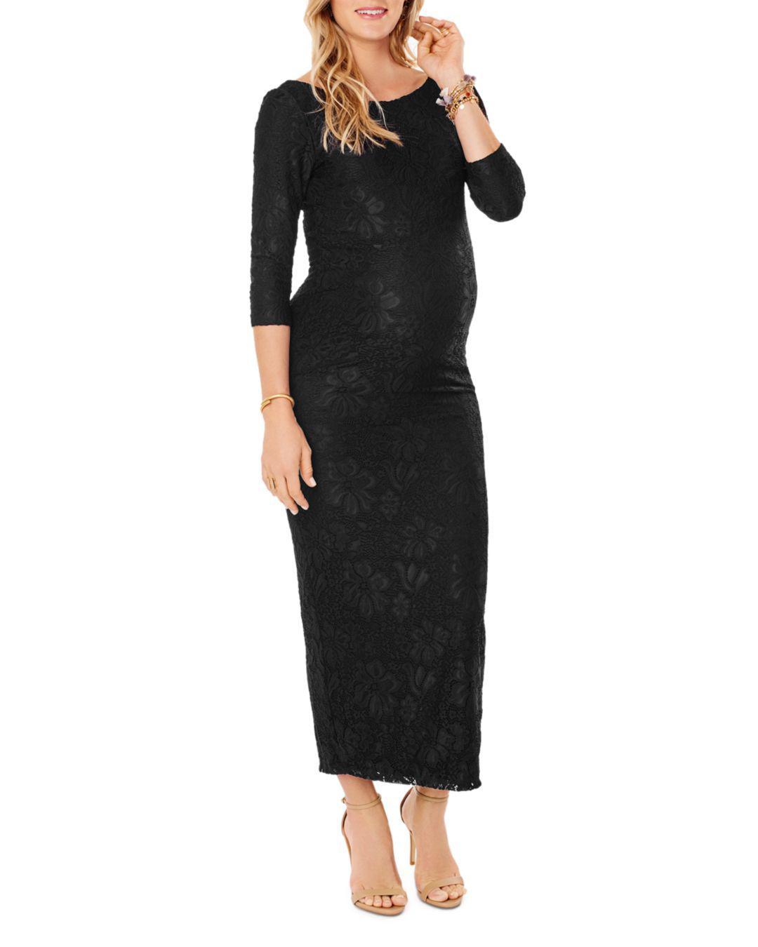 14e1d1b6f7ed Lyst - Ingrid & Isabel Maternity Lace Boatneck Maxi Dress in Black