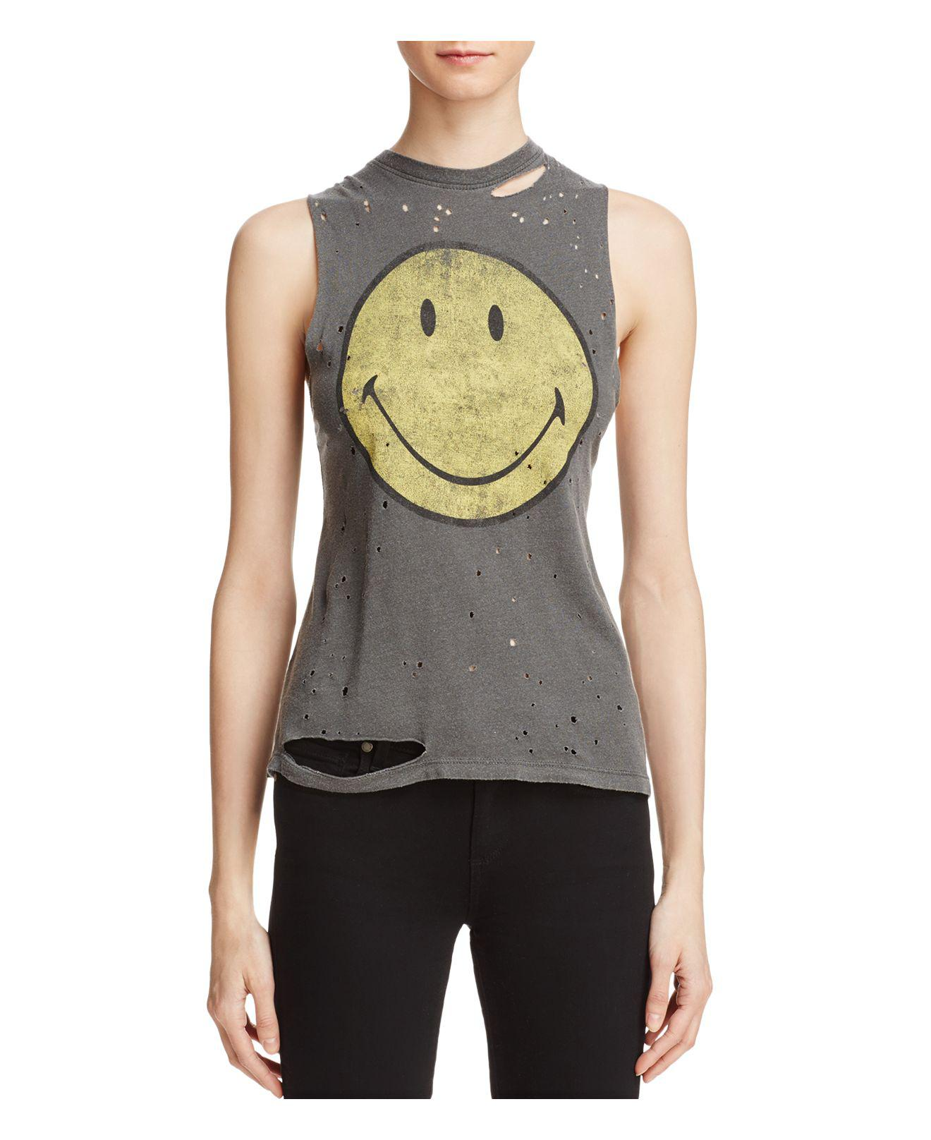 c2d3aef63 Daydreamer Smiley Face Distressed Muscle Tank - Lyst
