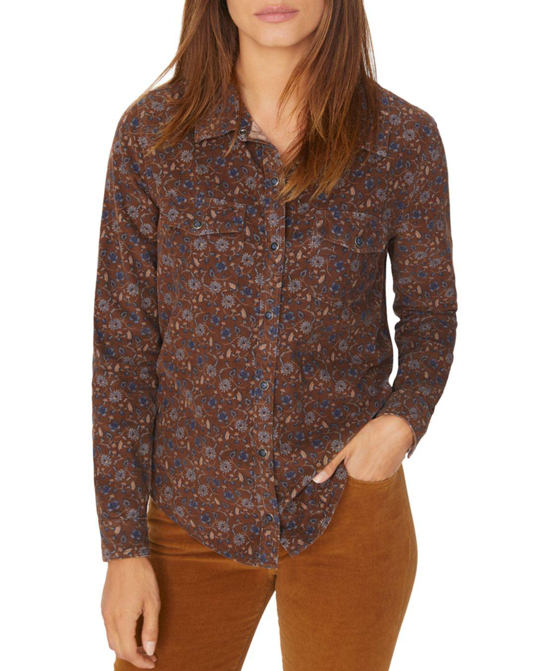bf2879e090b Lyst - Sanctuary Floral Corduroy Work Shirt in Brown