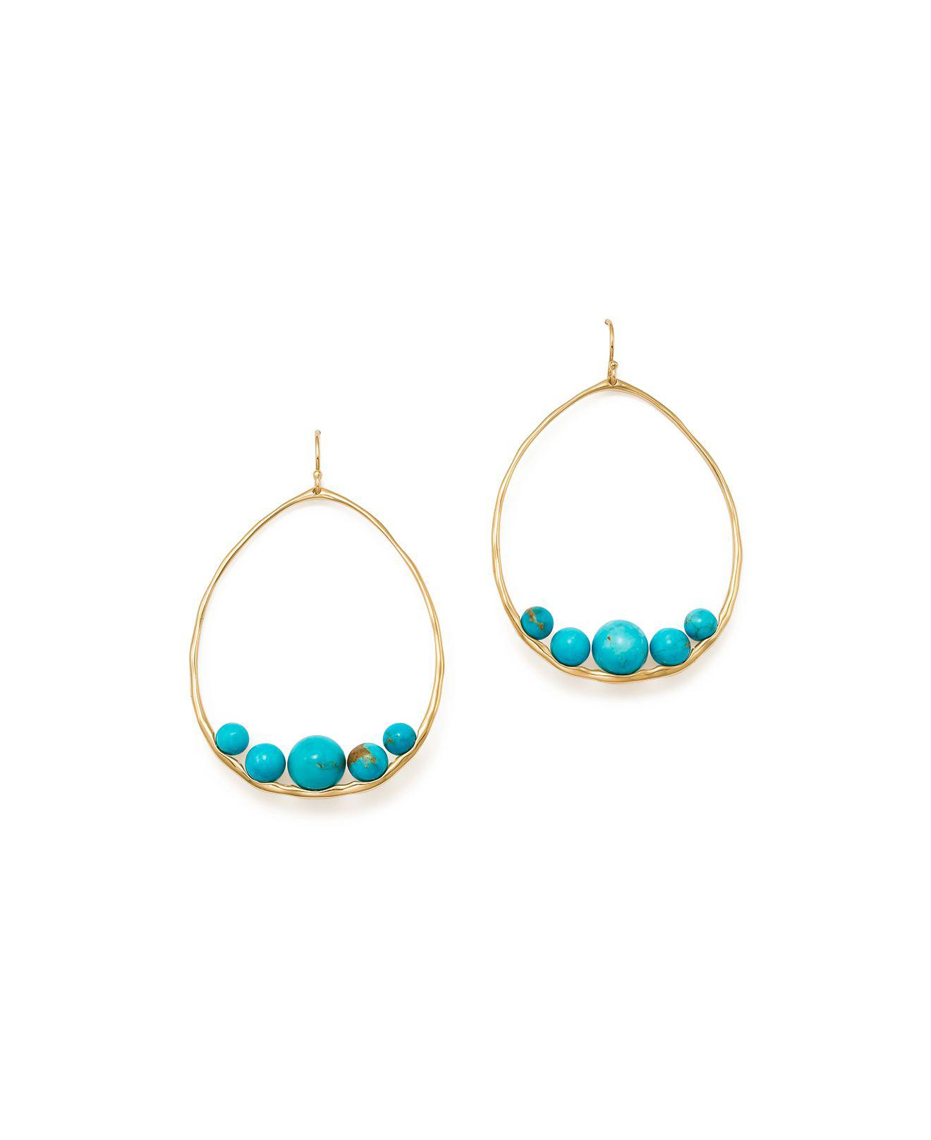 Ippolita 18k Nova Oval Drop Earrings in Turquoise 4OK9MQmH