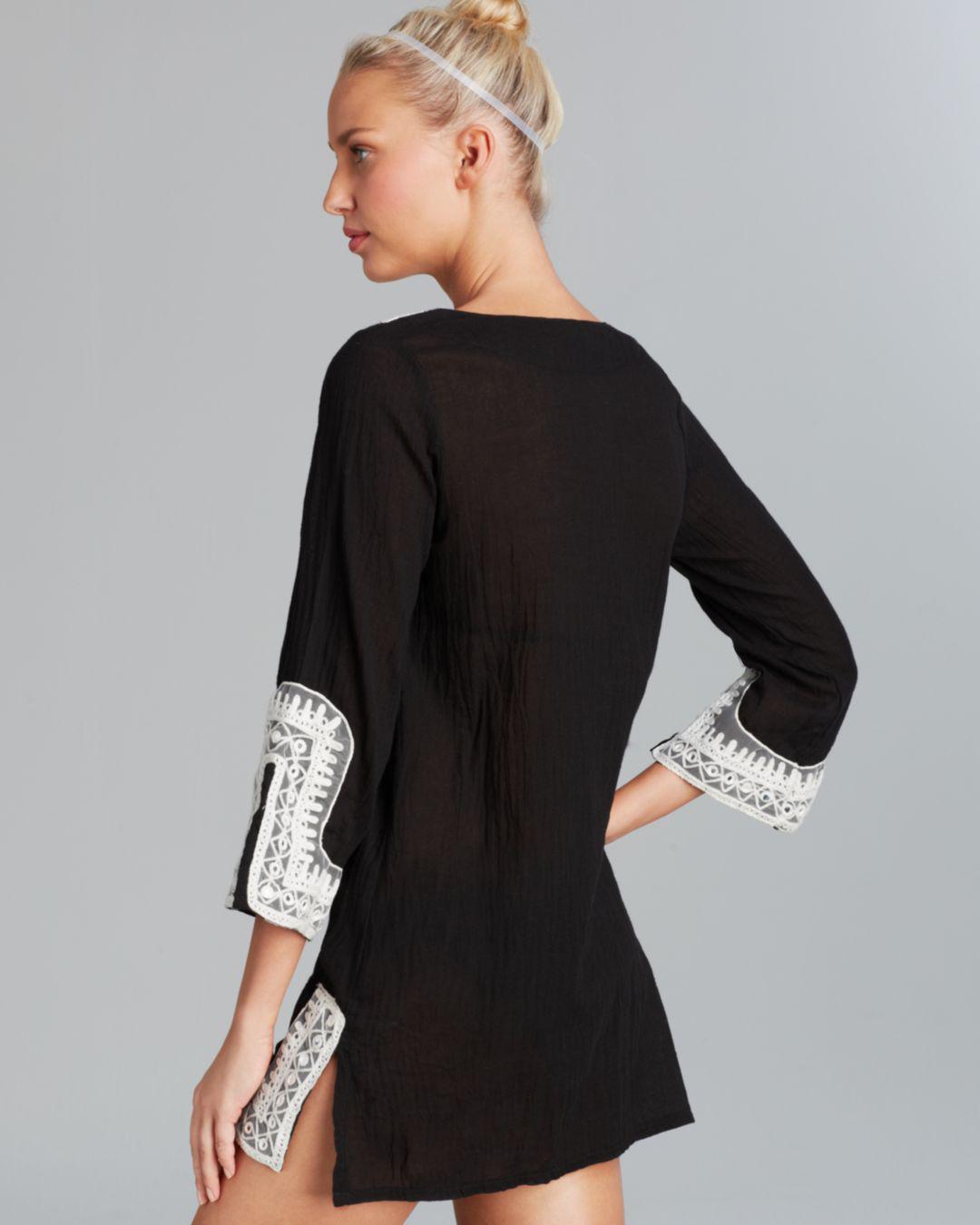 1103c49441 Debbie Katz Shanti Mirror Cotton Gauze Tunic Swim Cover Up in Black ...