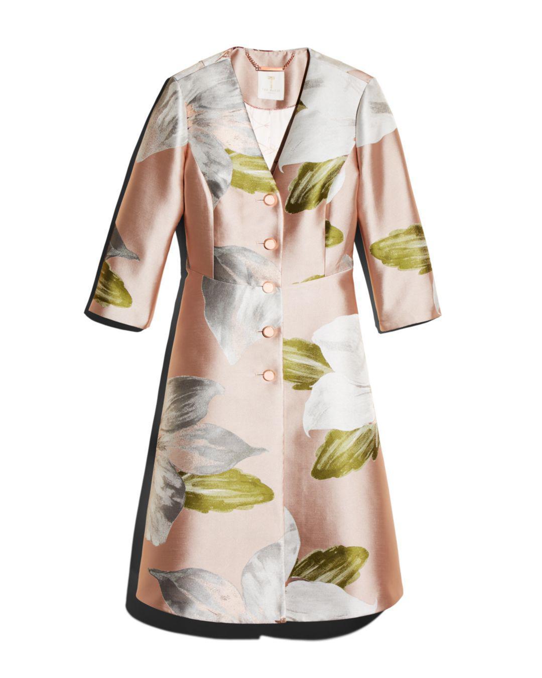 2b3a5b514 Lyst - Ted Baker Ottie Chatsworth Bloom Dress Coat in Pink