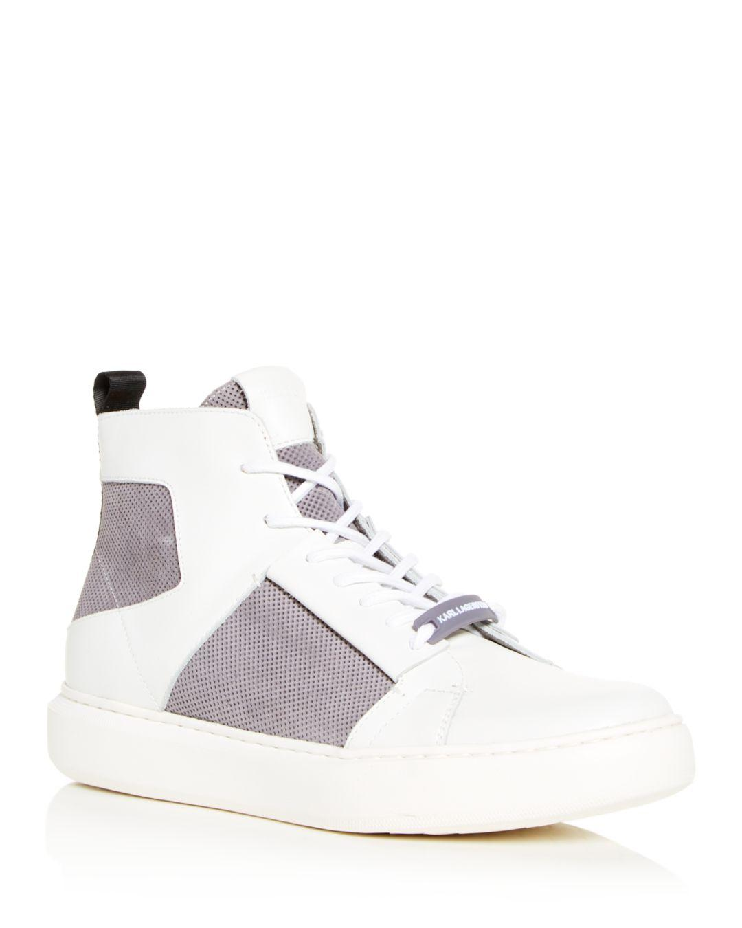 Lyst - Karl Lagerfeld Men s Leather   Suede High-top Sneakers in ... 506e89e7a