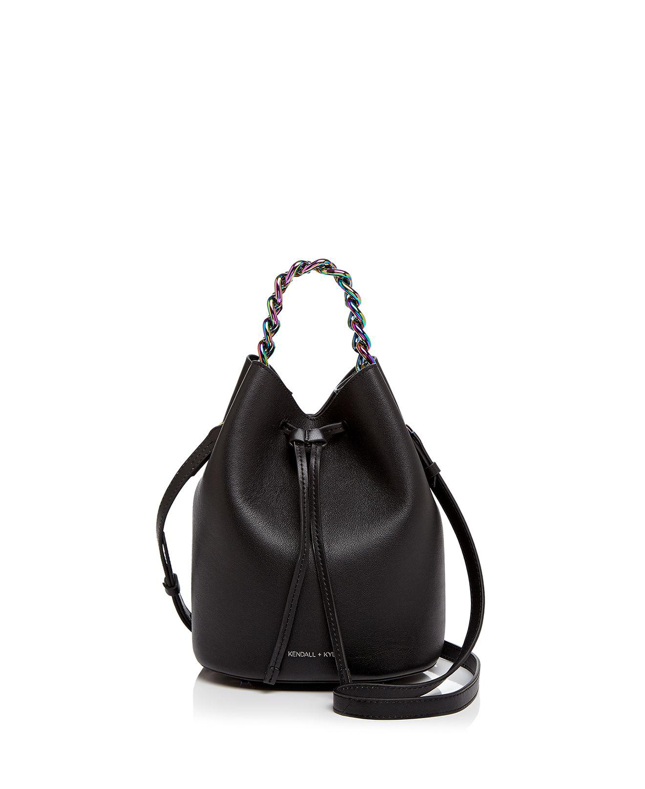 Kendall + Kylie Black satin bucket bag QV1LRECFNC