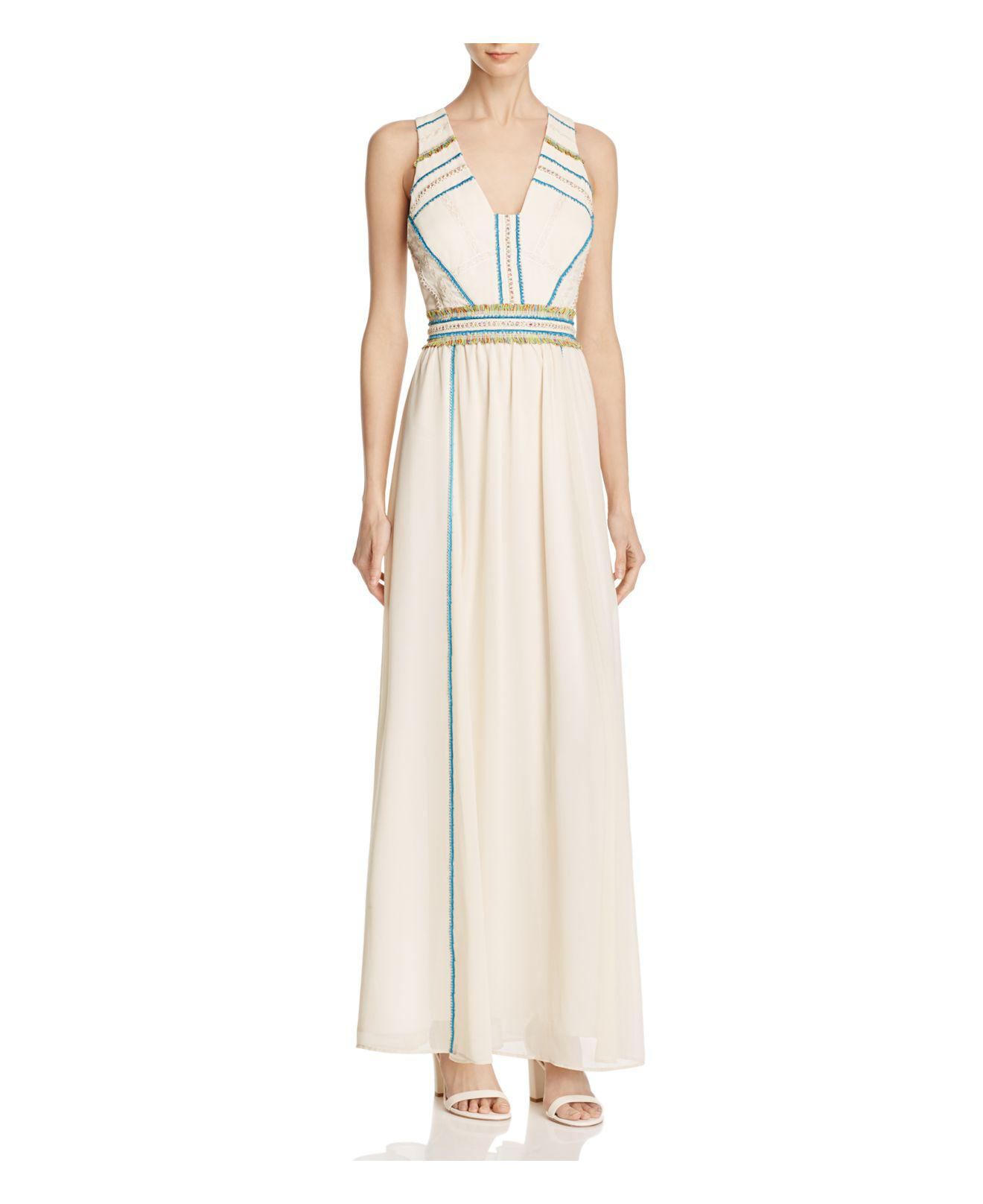 d9a84420aec84 Adelyn Rae Suzanne Fringe-trim Maxi Dress in Natural - Lyst