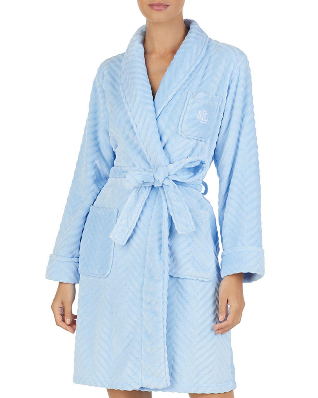 Lyst - Ralph Lauren Lauren Plush Sculpted Robe in Blue dc6afc63e