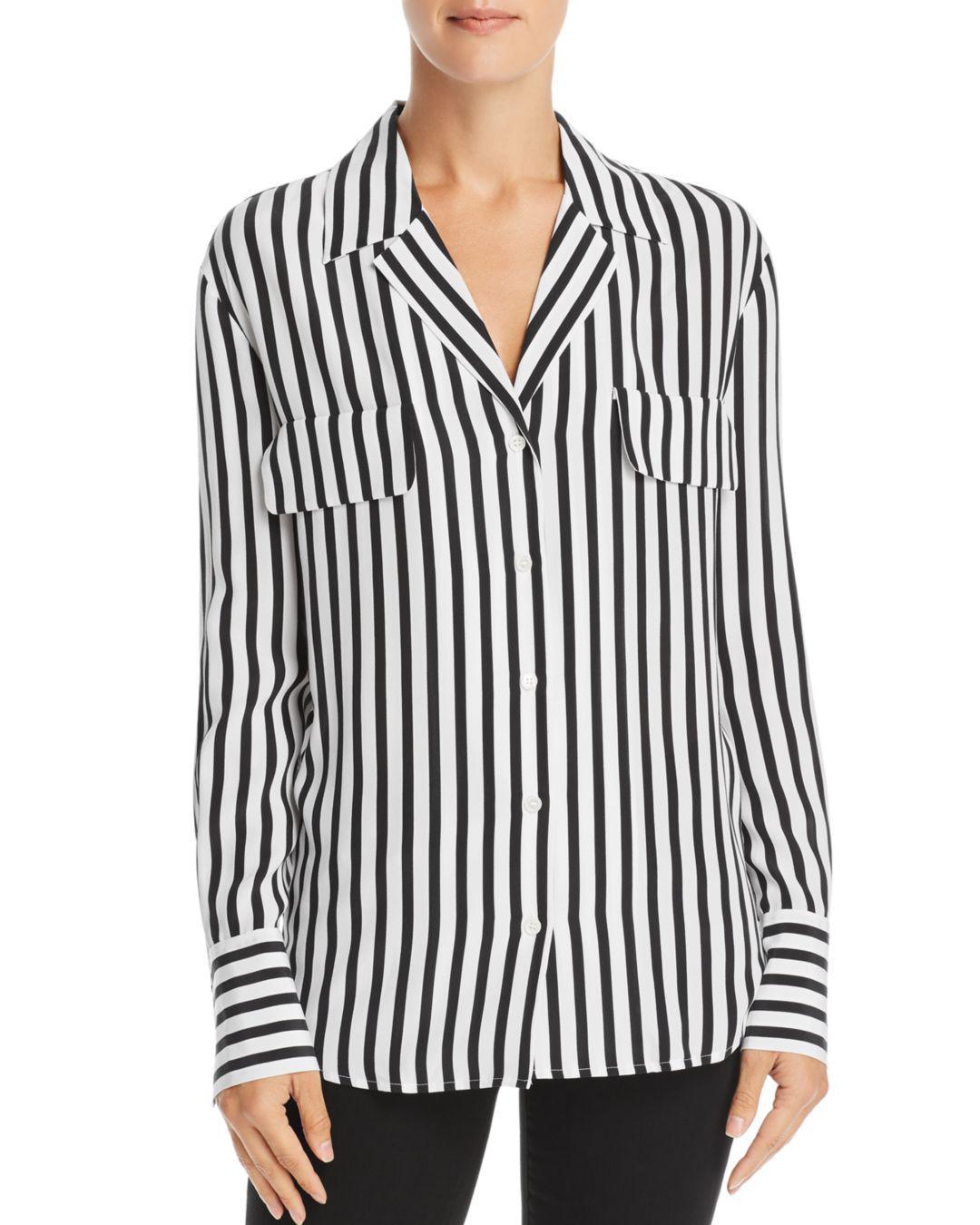 1dd81ed590fd14 FRAME - Black Striped Silk Blouse - Lyst. View fullscreen