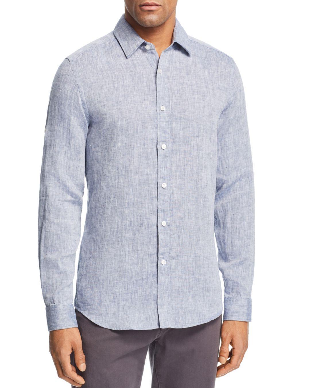 11ea881e BOSS - Blue Lukas Linen Regular Fit Shirt for Men - Lyst. View fullscreen