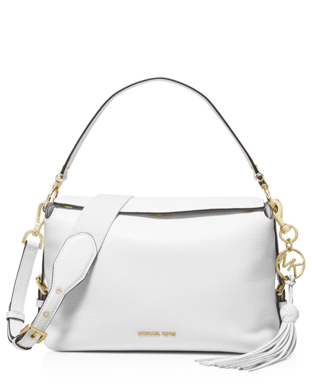 24e638176b78 MICHAEL Michael Kors Brooke Medium Leather Satchel in White - Lyst