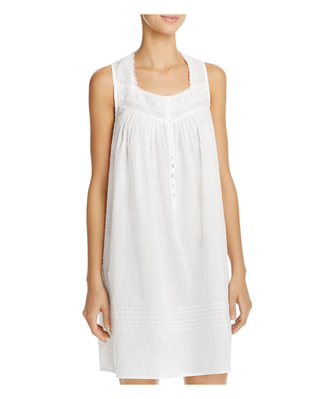 Lyst - Eileen West Swiss Dot Short Gown in White