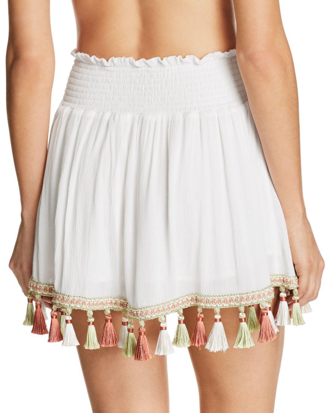 1cf78e4fa13bf Lyst - Surf Gypsy Tassel Mini Skirt Swim Cover-up in White