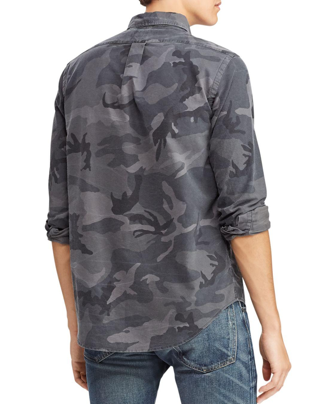 e7d5c13c Polo Ralph Lauren Classic Fit Camo Oxford Shirt in Gray for Men - Save 19%  - Lyst