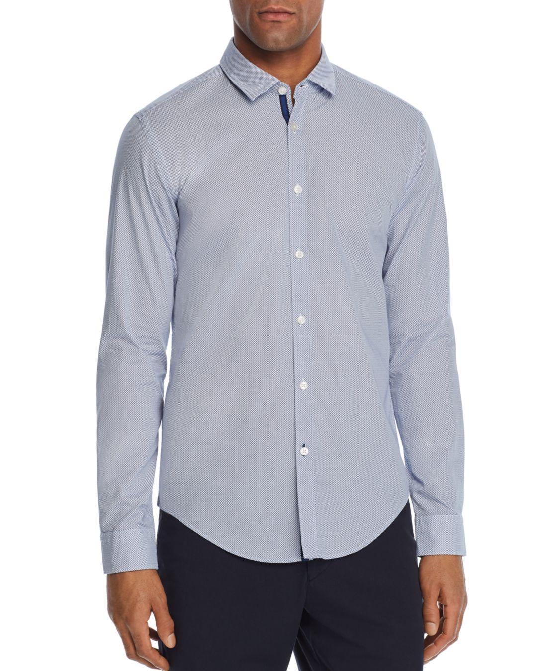 d9884ca83e9 Lyst - BOSS Boss Rikki Geometric Slim Fit Button-down Shirt in Blue ...