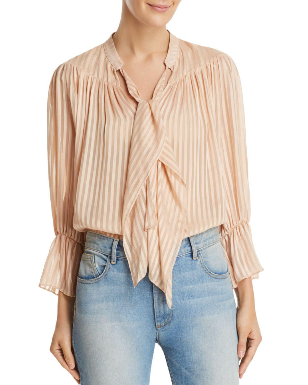 c94798d29cf5bf Alice + Olivia Alice + Olivia Danika Striped Tie-neck Top in Natural ...