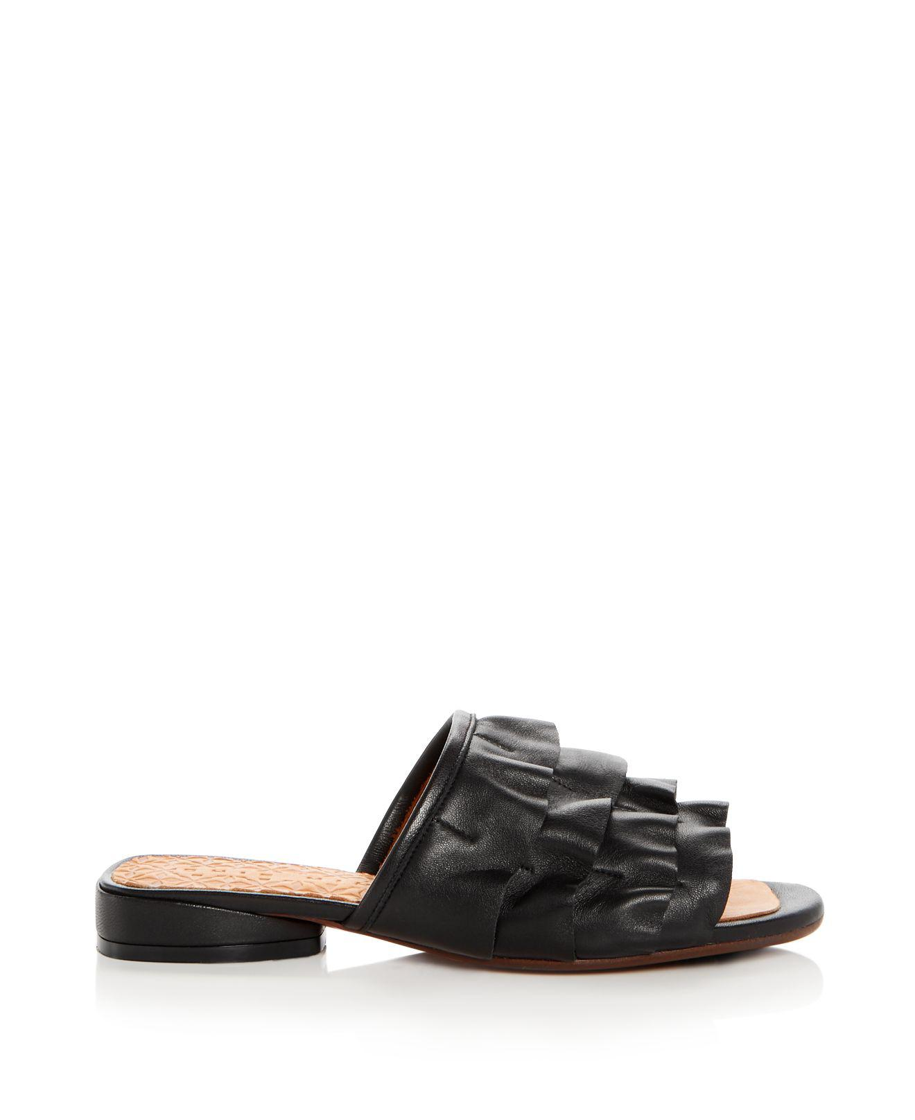Chie Mihara Women's Volante Leather Ruffle Slide Sandals m1nYbitfj