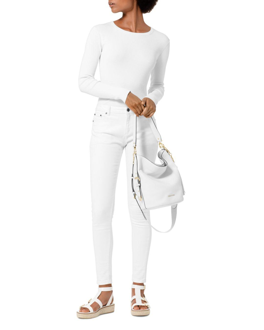 d3d72a9a1c0d MICHAEL Michael Kors Brooke Medium Pebbled Leather Bucket Bag in White -  Lyst
