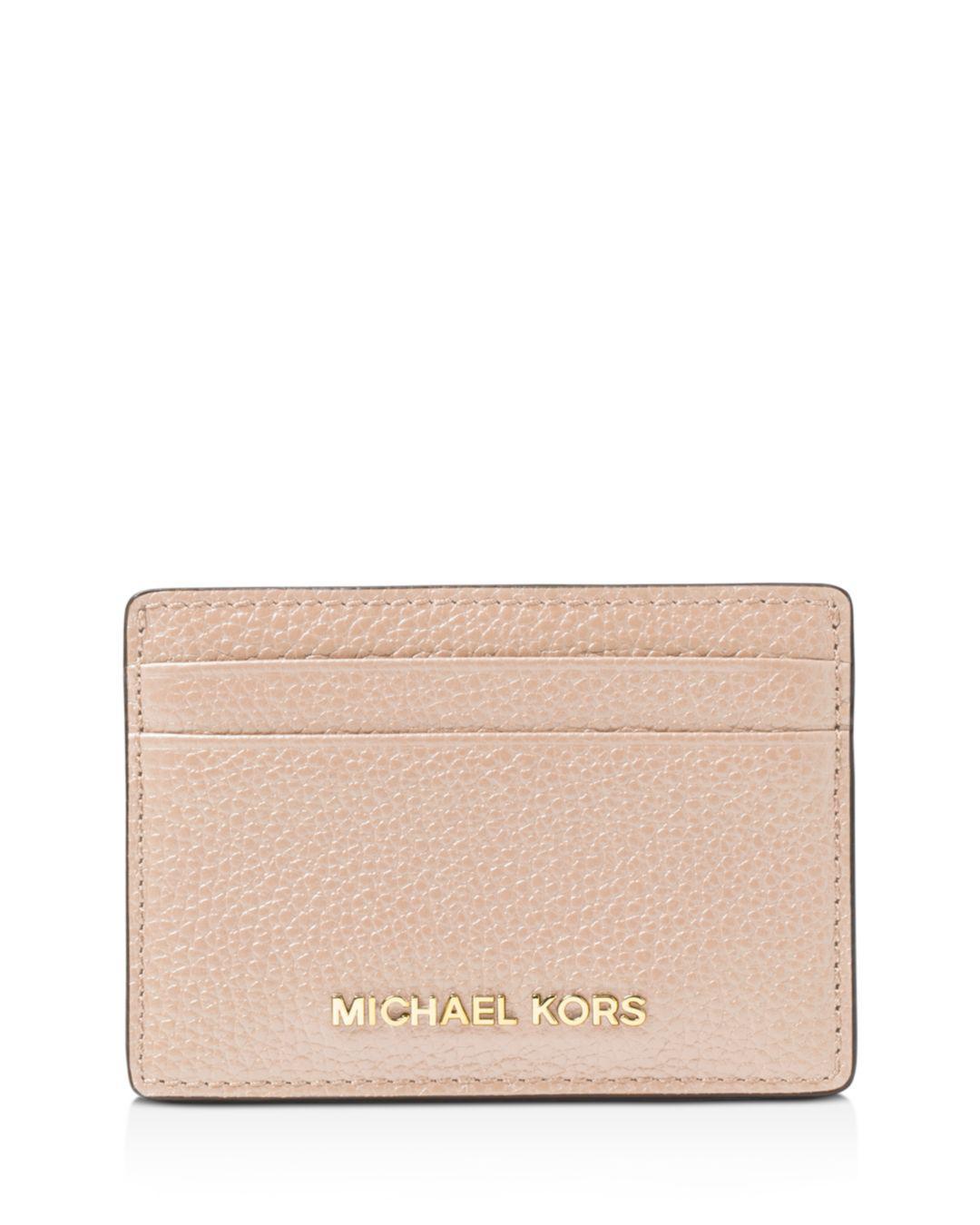d427c1d81668 Lyst - MICHAEL Michael Kors Money Pieces Leather Card Case in Pink