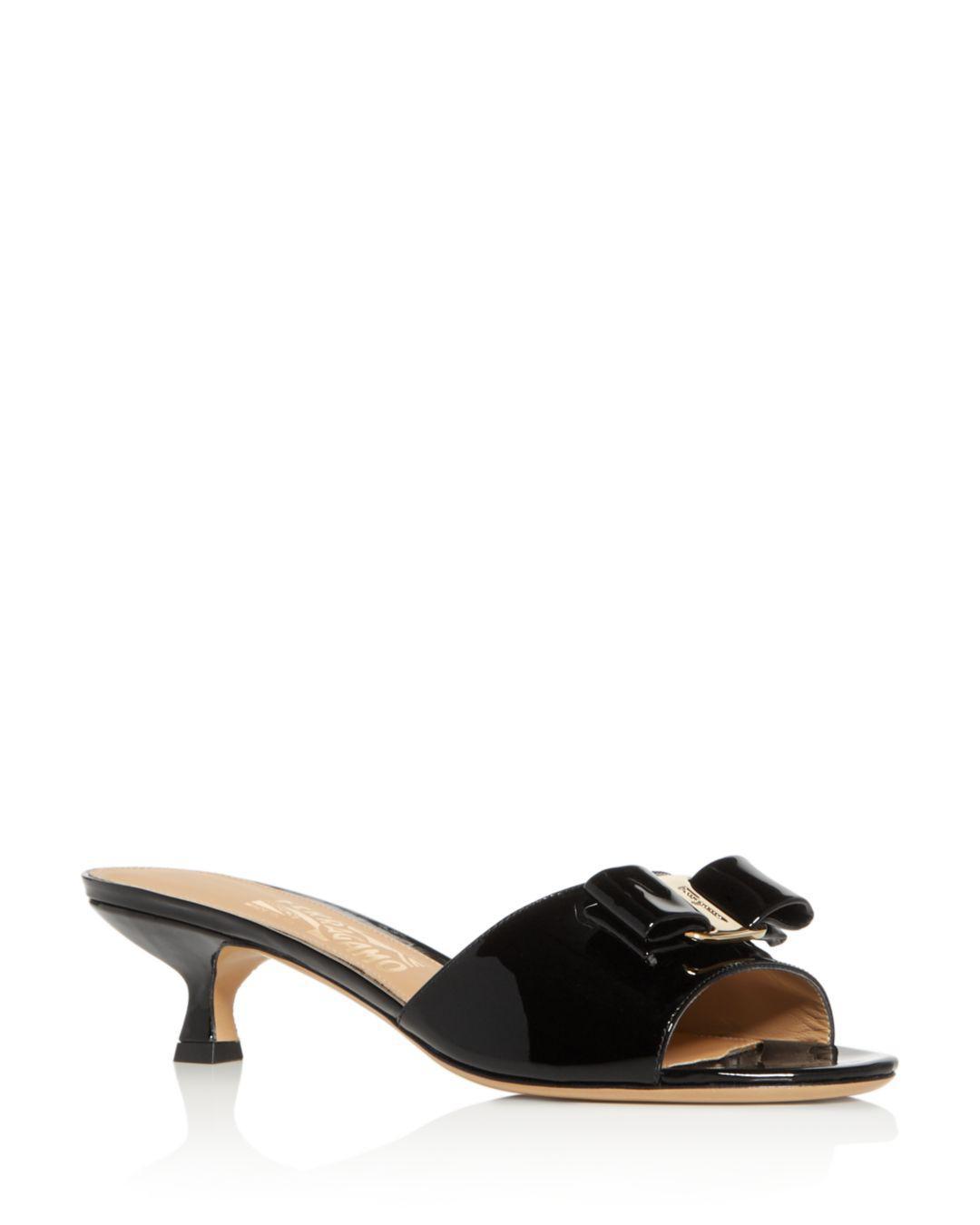 eb47cf6d74d0 Lyst - Ferragamo Women s Gino Kitten-heel Slide Sandals in Black