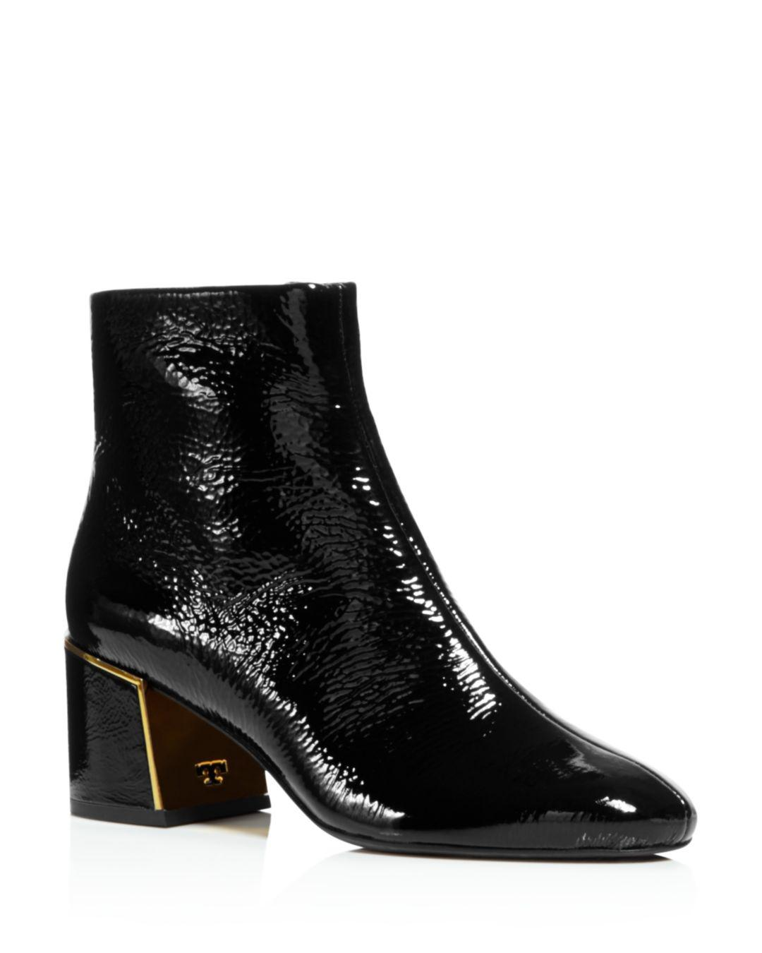 815df4e0fc11b7 Lyst - Tory Burch Women s Juliana Tumbled Patent Leather Booties in ...