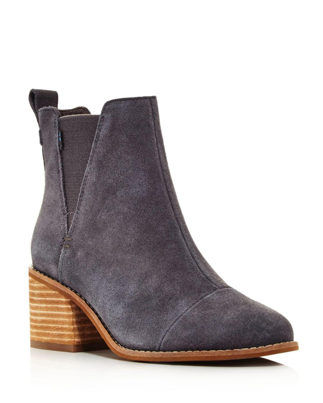 c9b59f85f5a Lyst - TOMS Women s Esme Round Toe Suede Chelsea Booties in Gray