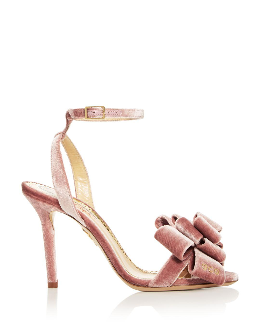 c833c9d4a6a0 Lyst - Charlotte Olympia Women s Velvet Bow High-heel Sandals in Pink