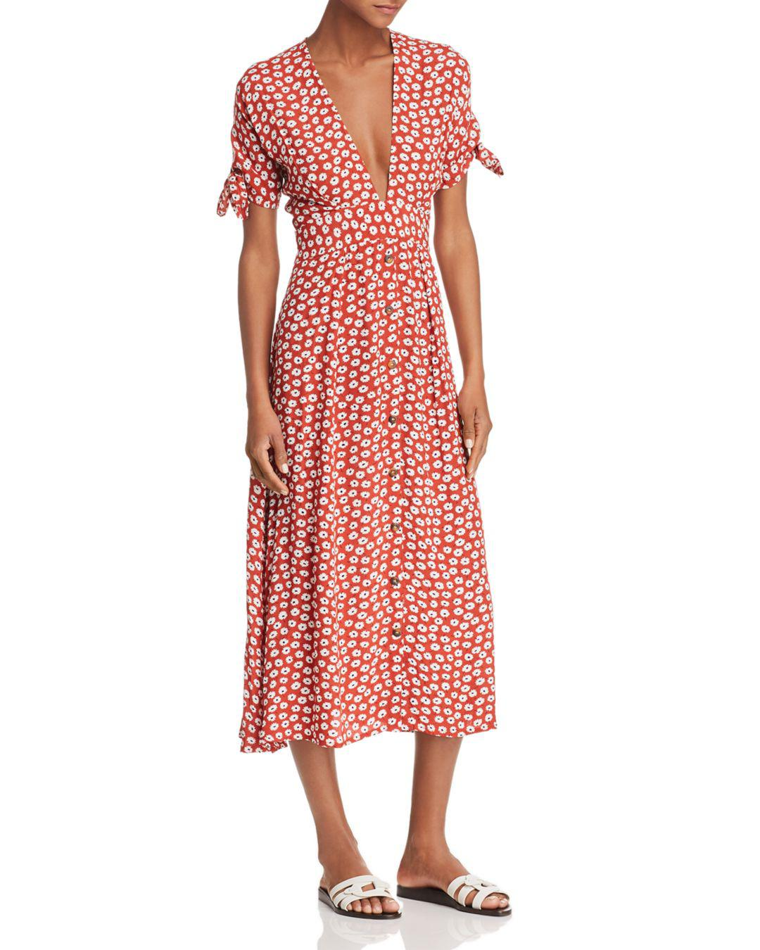 f4e16cd456d82d Lyst - Faithfull The Brand Nina Floral Midi Dress in Red