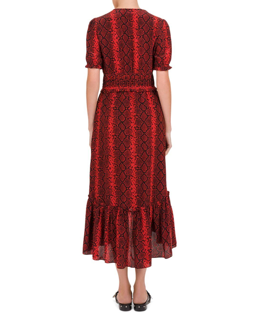 8a6430a49e The Kooples Red Hot Snake-print Midi Dress in Red - Lyst