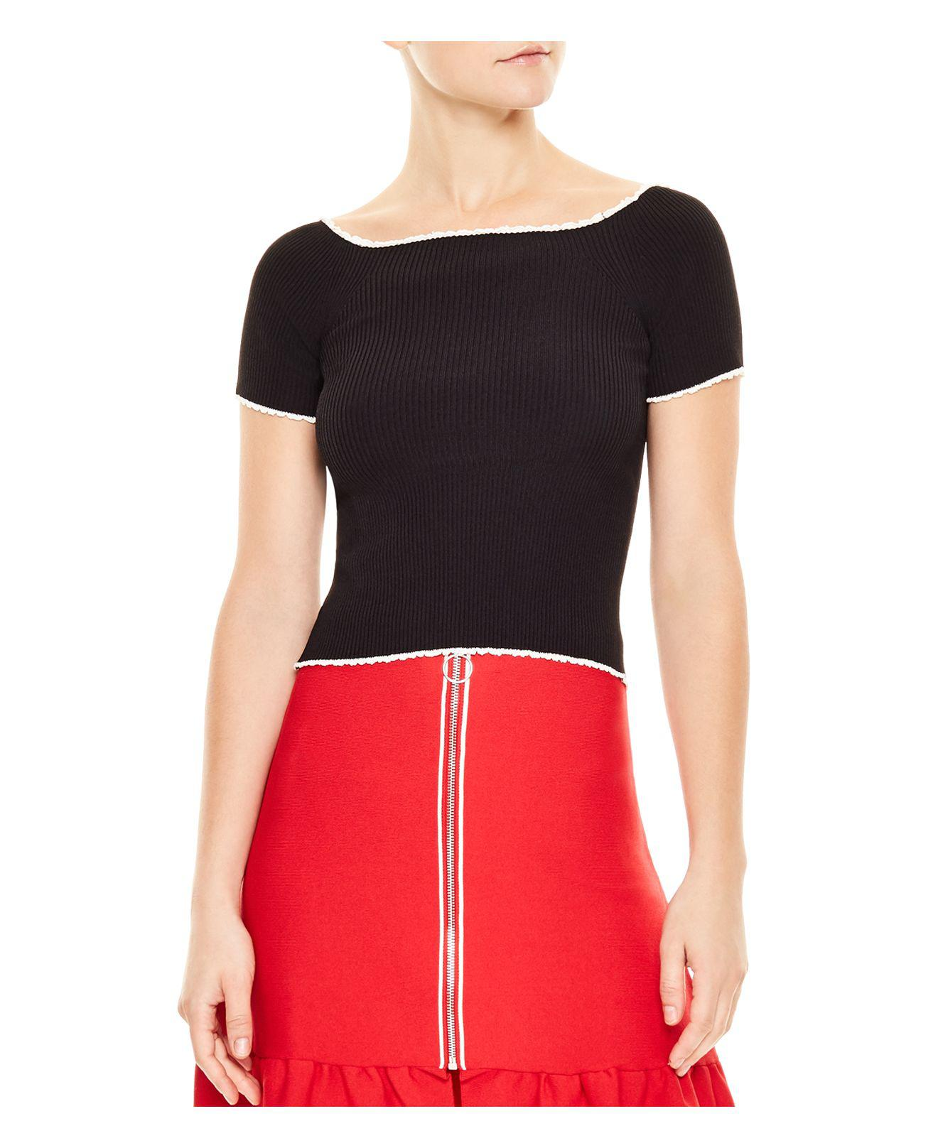 Sandro Ouma Cropped Ribbed Sweater in Black | Lyst