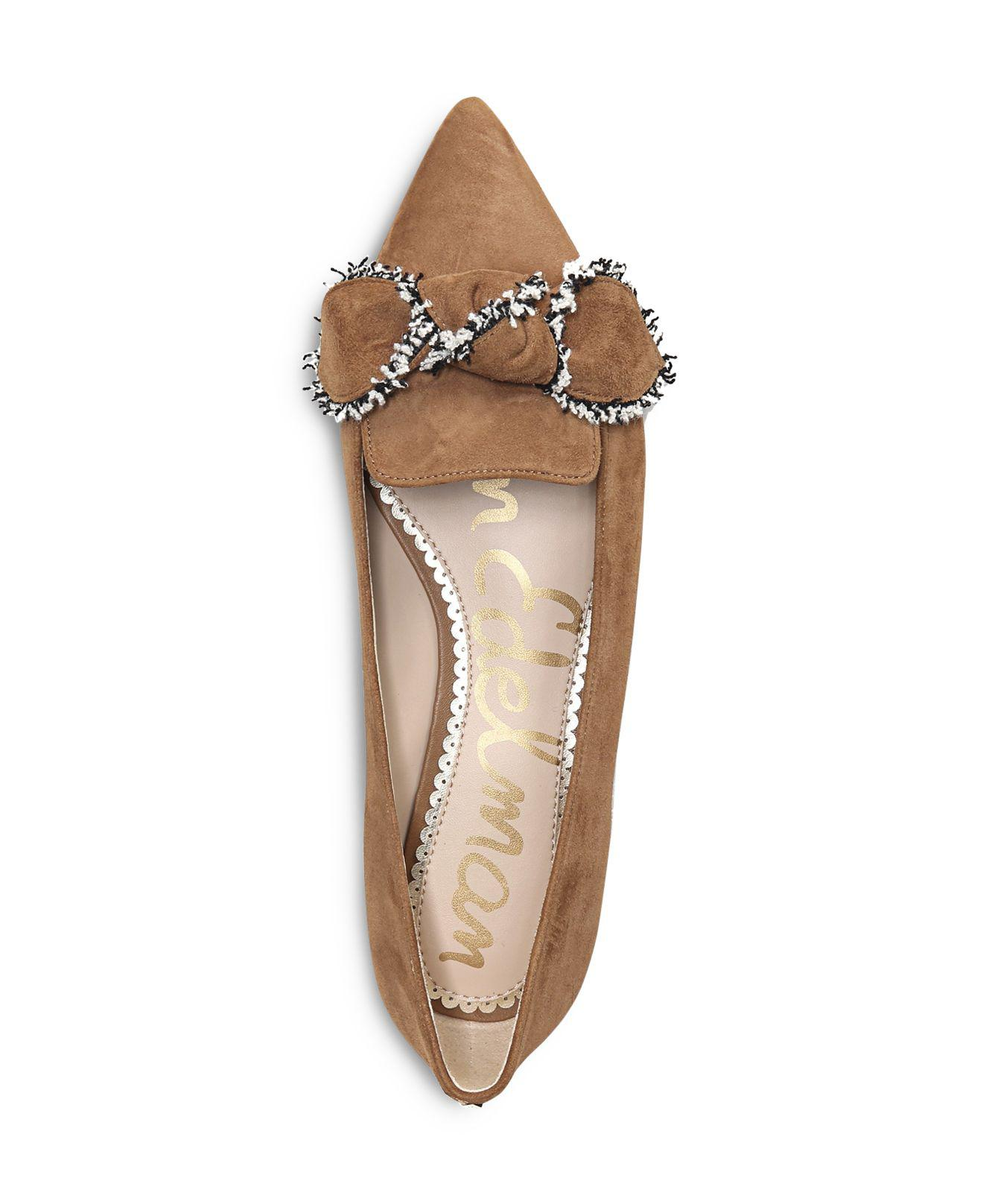 9d0140322 Lyst - Sam Edelman Rochester Suede Pointed Toe Bow Flats