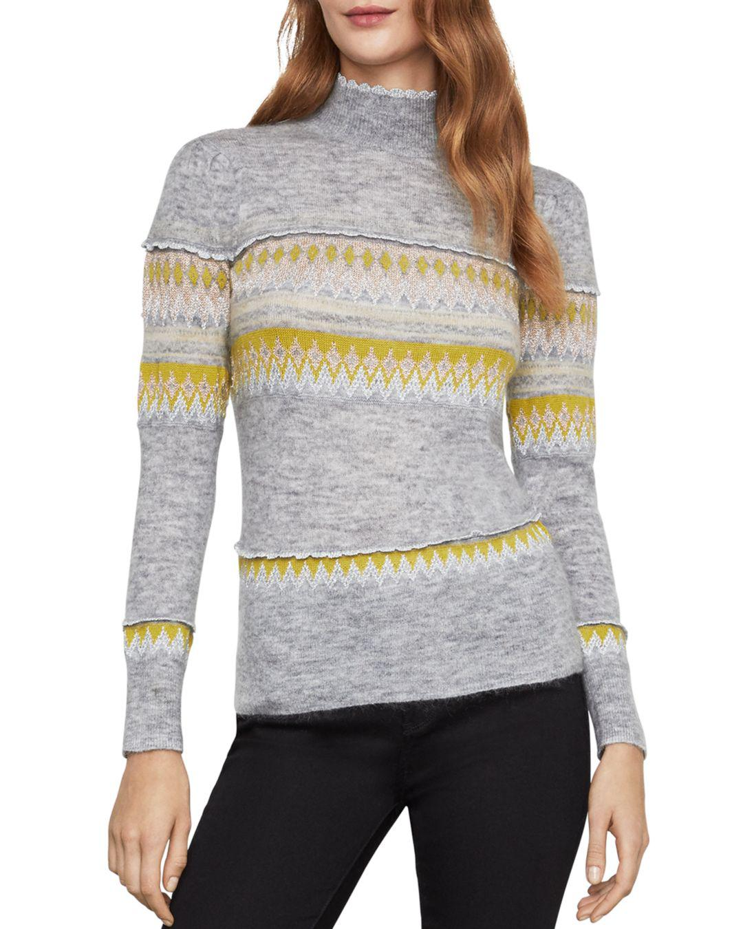 Bcbgmaxazria Mixed Intarsia Mock-neck Sweater in Gray - Lyst a603a2f47