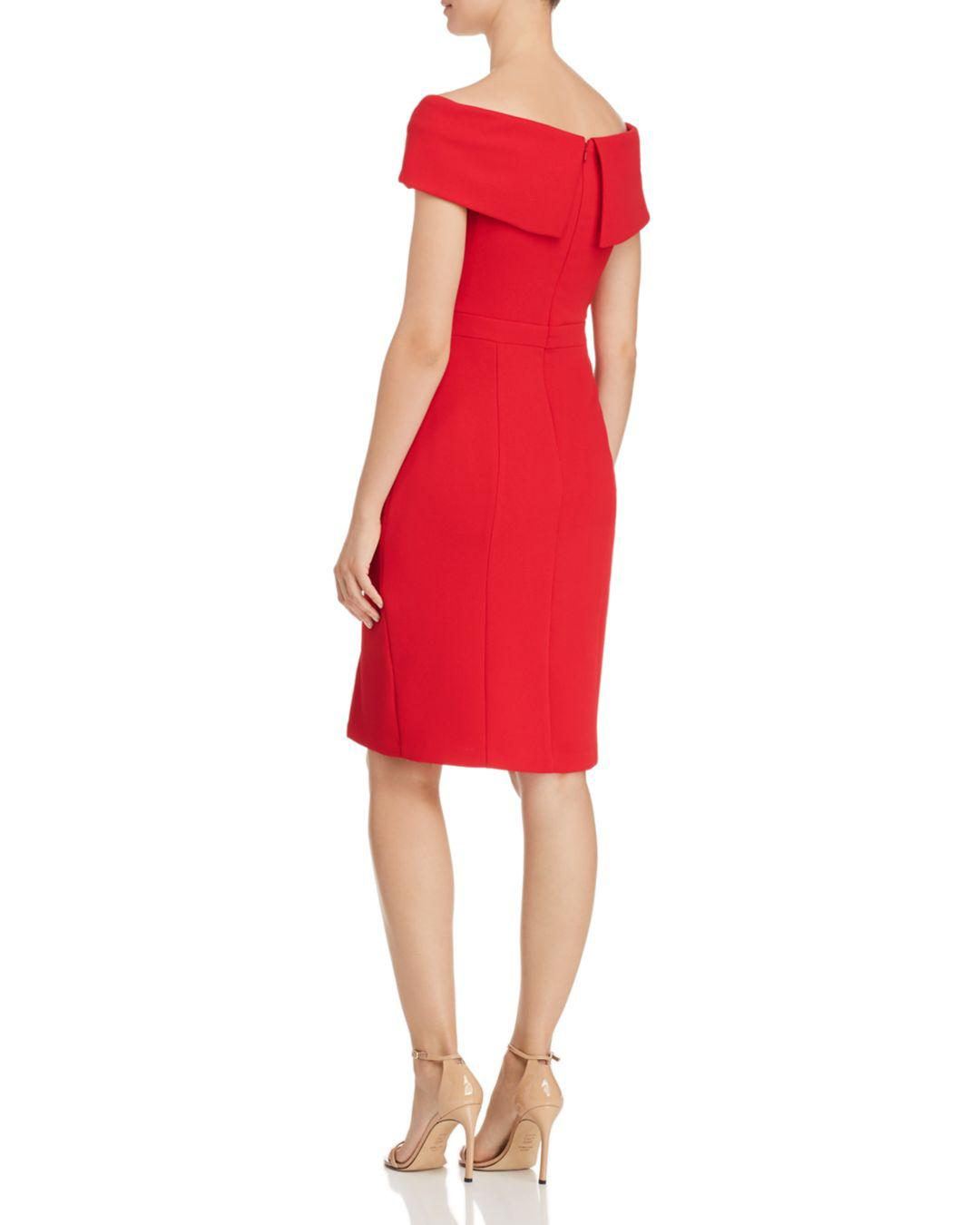 3428f8a94808 Lyst - Aqua Fold-over Off-the-shoulder Sheath Dress in Red