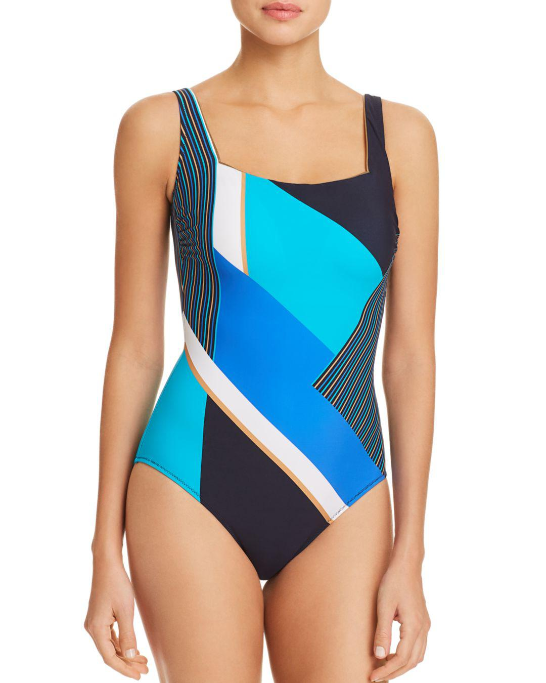 57a315d15b912 Gottex Maritime Square Neck One Piece Swimsuit in Blue - Lyst