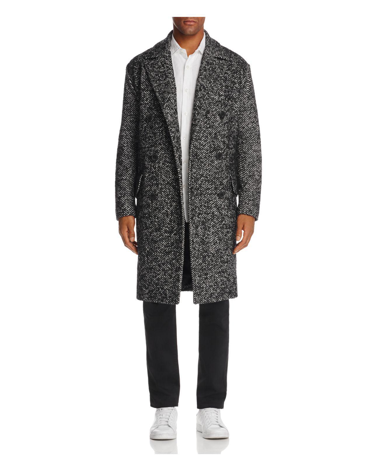 Theory. Men's Black Oversized & Double-breasted Herringbone Coat