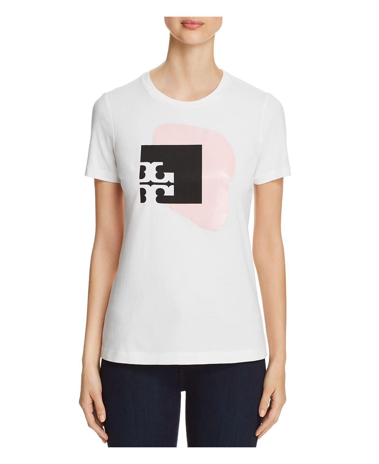 Lyst tory burch carly logo graphic tee in white for Tory burch t shirt