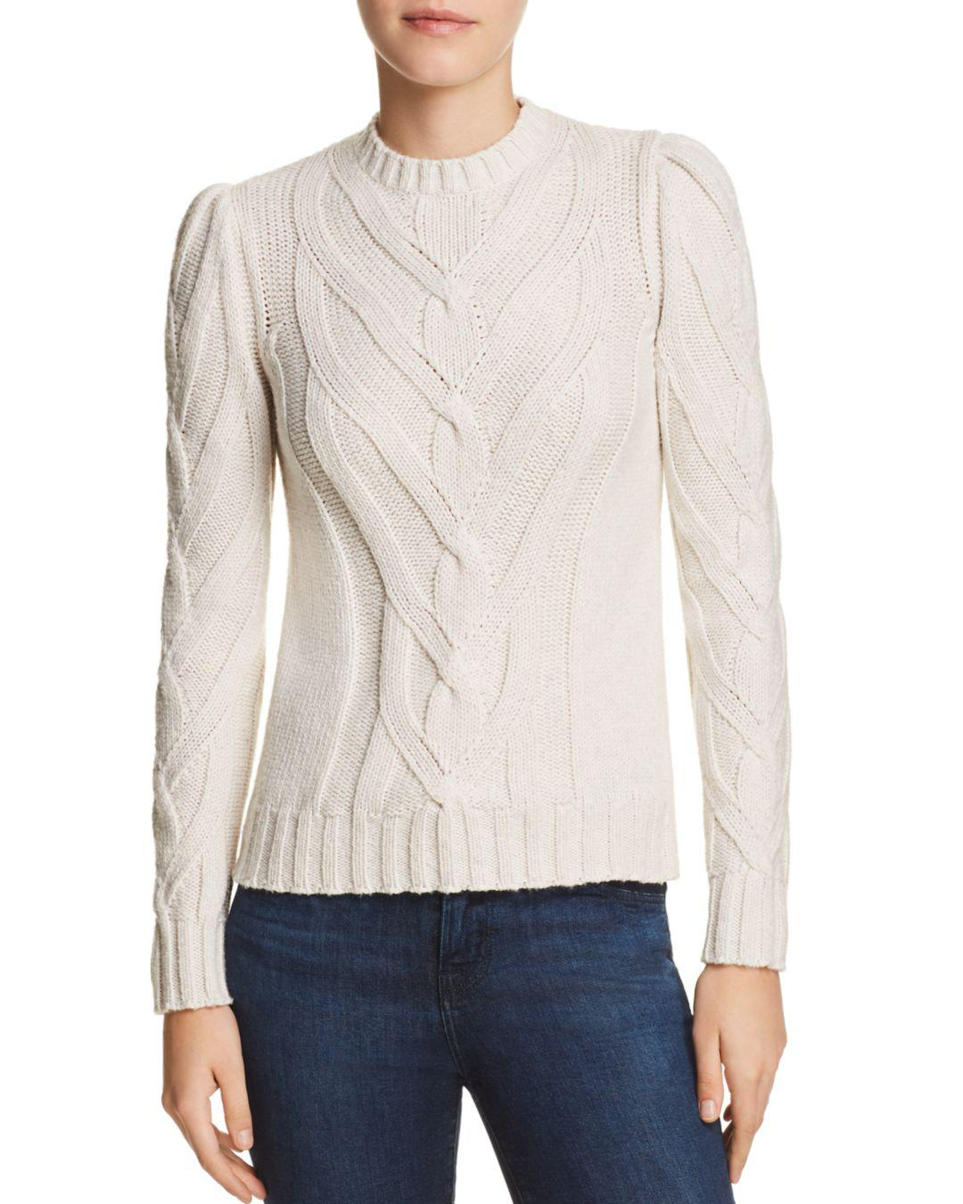 9e1ead053 Rebecca Taylor La Vie Cozy Cable Sweater in White - Lyst