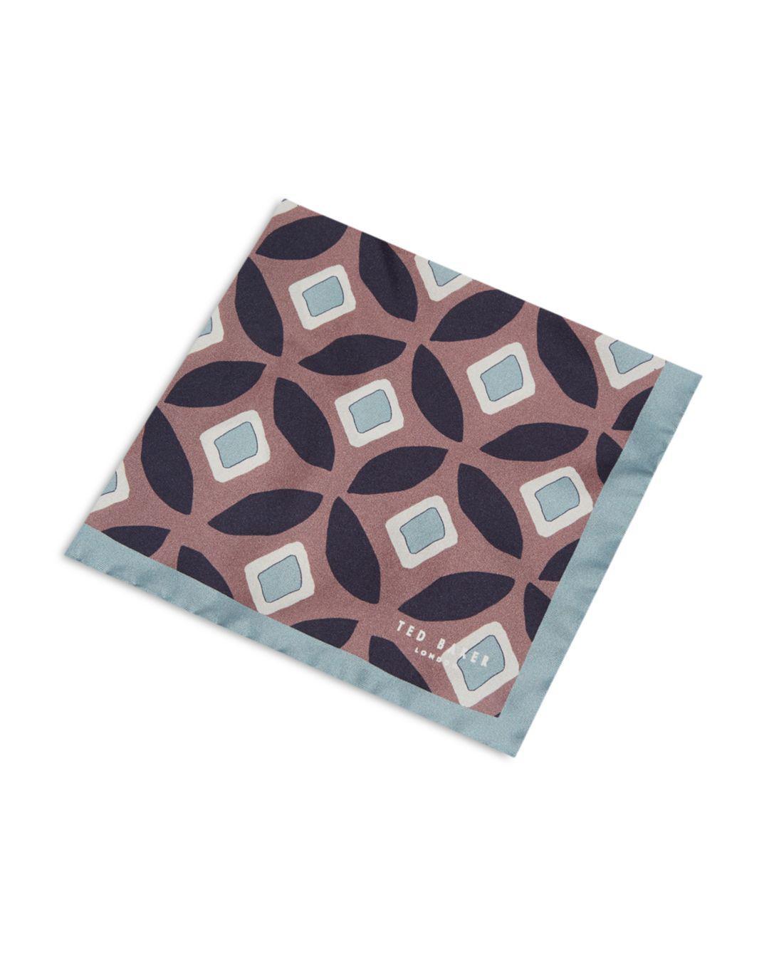 50d63b3b78fc Lyst - Ted Baker Herne Split Geometric-print Silk Pocket Square in ...