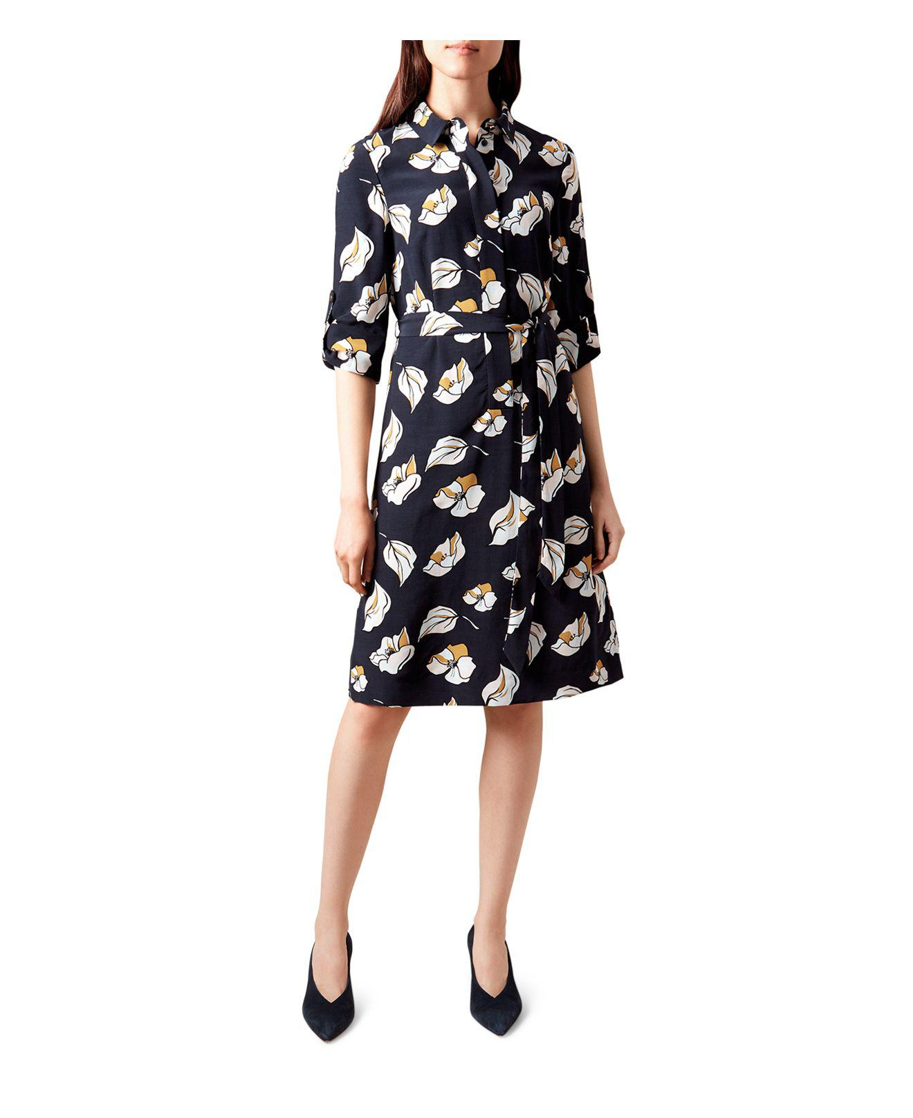 Lyst Hobbs Beatrice Floral Print Shirt Dress In Blue