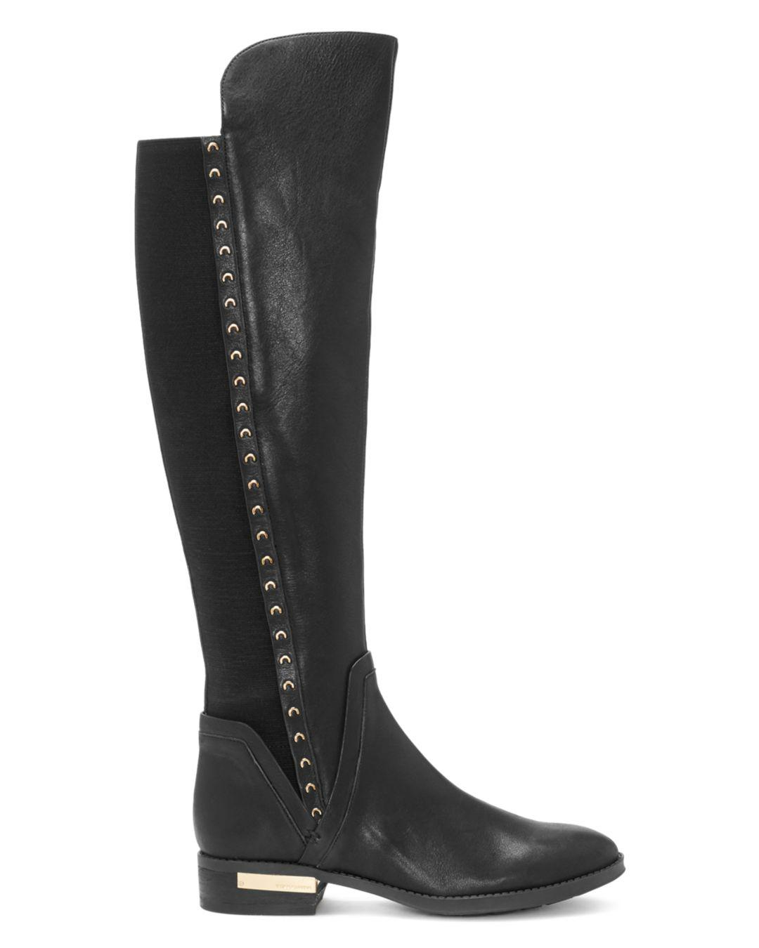 0443fc52c68 Vince Camuto Black Women's Pardonal Studded Leather Riding Boots