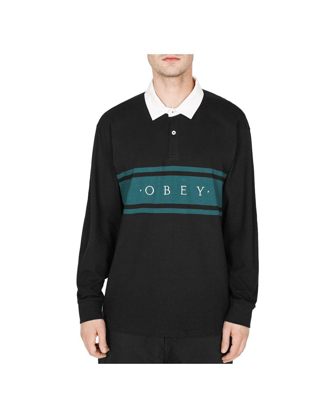 a138e095 Obey Hero Classic Long-sleeve Polo Shirt in Black for Men - Lyst