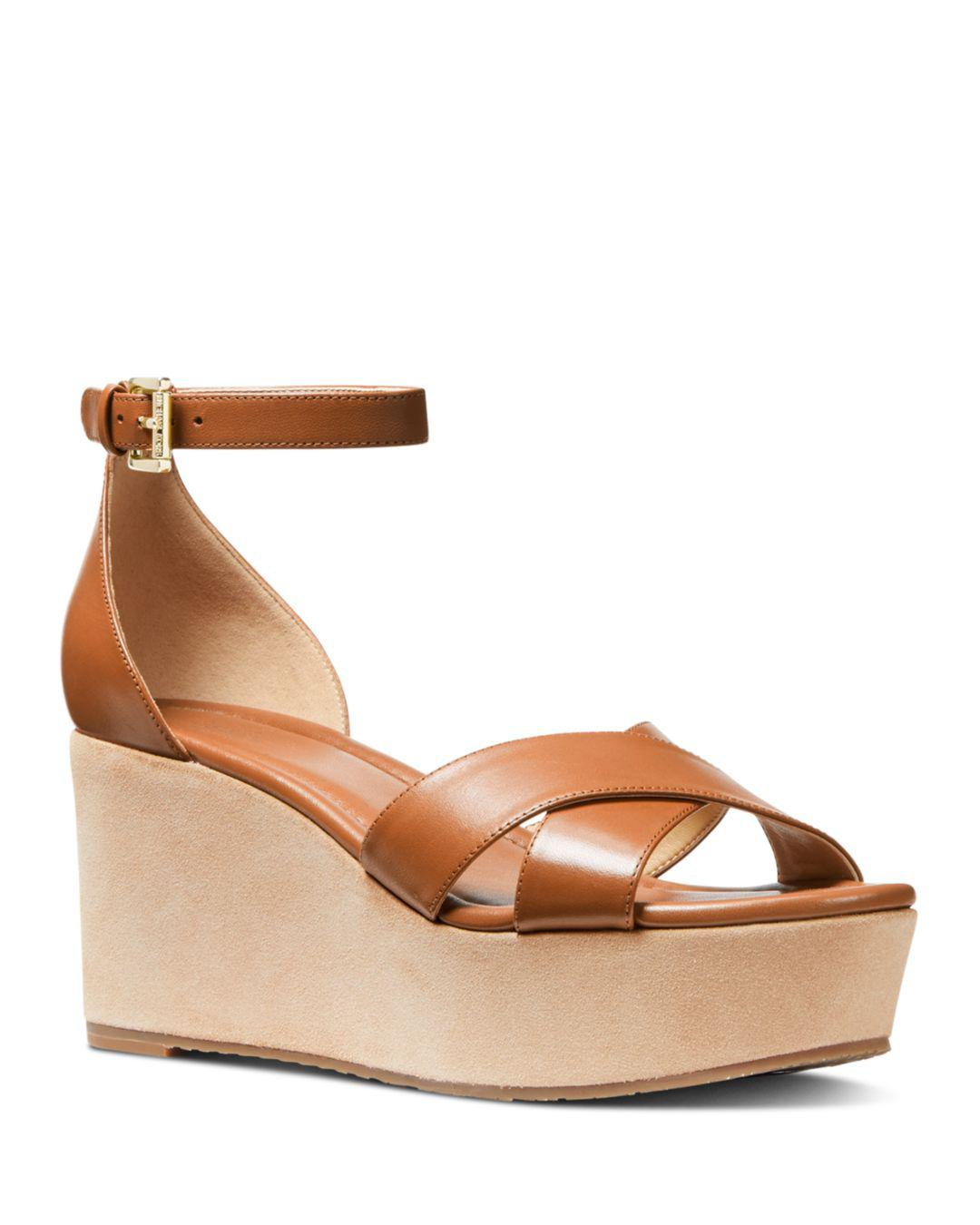 50d85089e2a Lyst - MICHAEL Michael Kors Women s Desiree Wedge Sandals in Brown